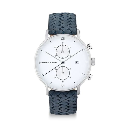 CHRONO SILVER LIGHT BLUE WOVEN LEATHER