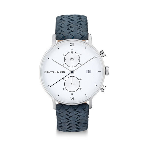 "KAPTEN & SON - CHRONO SILVER ""Light Blue Woven Leather"""