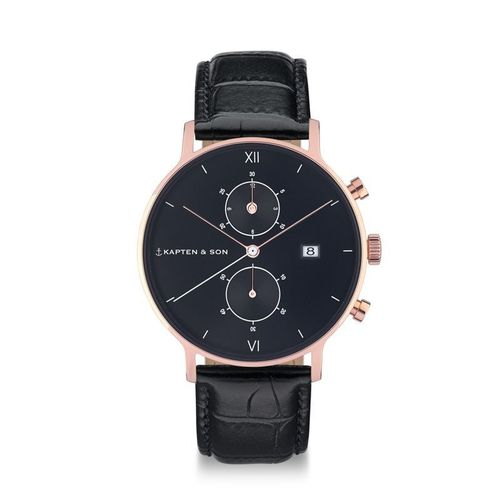 KAPTEN & SON - CHRONO ALL BLACK CROCO