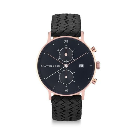 KAPTEN & SON - CHRONO ALL BLACK WOVEN