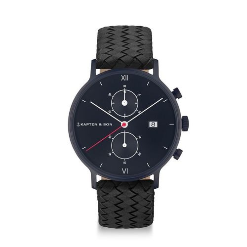 KAPTEN & SON - CHRONO BLACK MIDNIGHT WOVEN