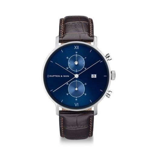KAPTEN & SON - CHRONO SILVER BLUE DARK BROWN CROCO LEATHER