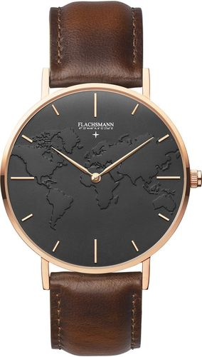 FLACHSMANN - WORLD TRAVELER 4 - vintage brown leather - 37MM