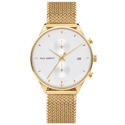PAUL HEWITT - CHRONO - White Sand Gold Woven Mesh Gold / 160 mm / 42 mm