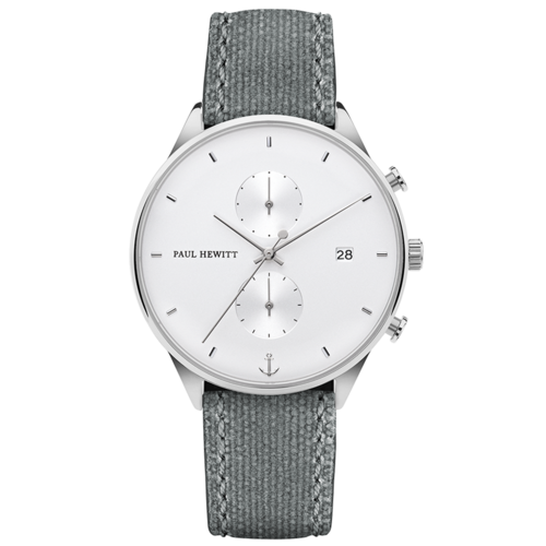 PAUL HEWITT - CHRONO - White Sand Silber Canvas Grau / 196 mm / 42 mm