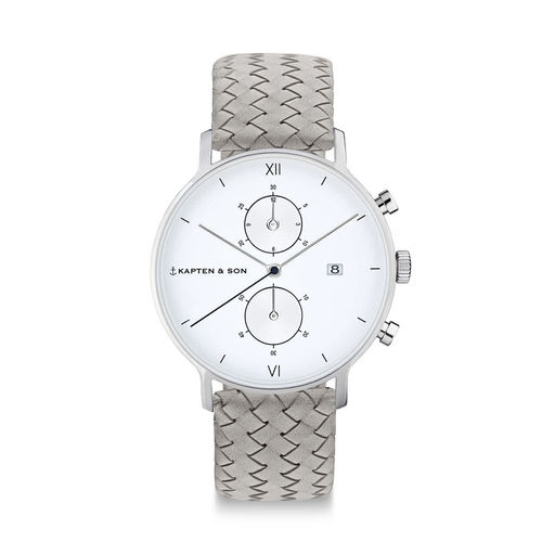 "KAPTEN & SON - CHRONO SILVER ""Grey Woven Leather"""