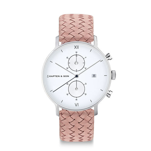 "KAPTEN & SON - CHRONO SILVER ""Rose Woven Leather"""