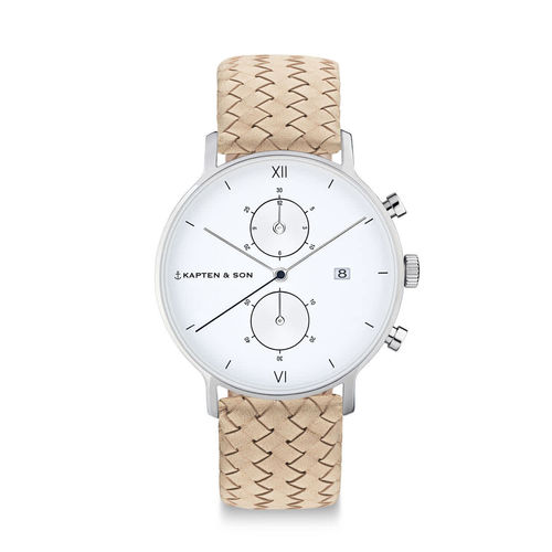 "KAPTEN & SON - CHRONO SILVER ""Sand Woven Leather"""