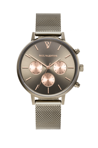PAUL VALENTINE - MULTIFUNKTIONAL KHAKI MESH - khaki/ khaki rose gold/ khaki - 38 MM