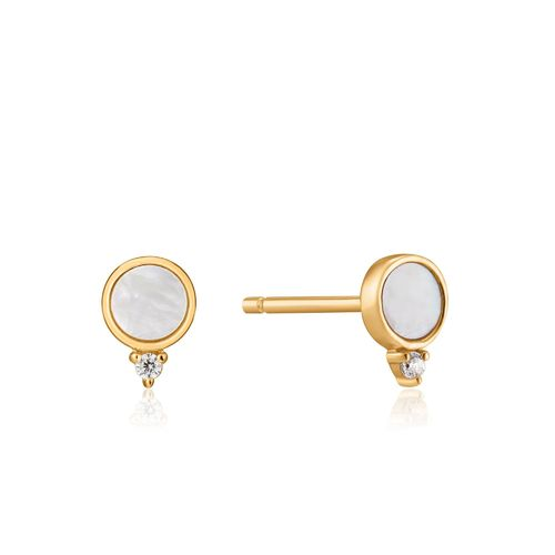 "ANIA HAIE - ""MOTHER OF PEARL STUD OHRRINGE"" - gold"