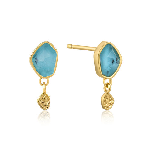 ANIA HAIE - TURQUOISE DROP STUD EARRINGS - gold