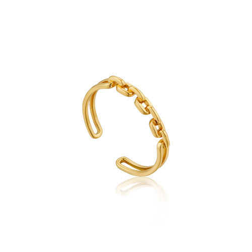 "ANIA HAIE - ""LINKS DOUBLE ADJUSTABLE RING"" - gold"