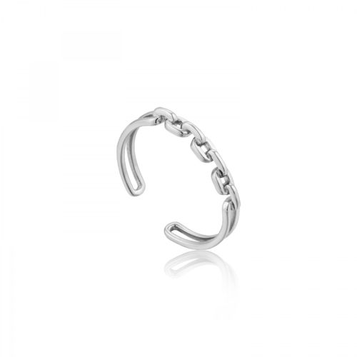 "ANIA HAIE - ""LINKS DOUBLE ADJUSTABLE RING"" - silber"