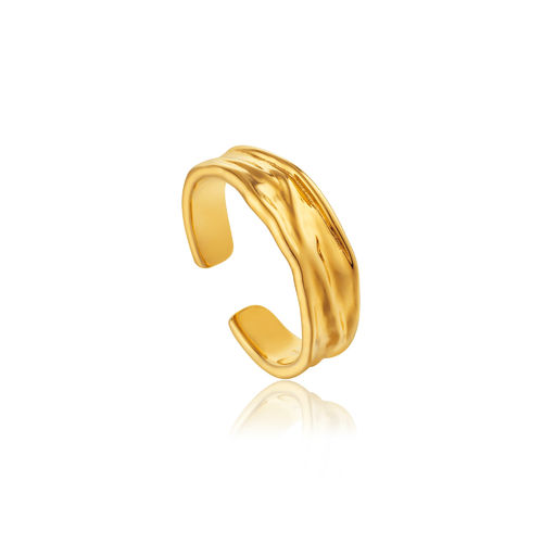 "ANIA HAIE - ""GOLD CRUSH ADJUSTABLE RING"" - gold"
